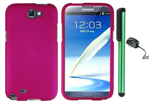 #>>  Hot Pink Design Protector Hard Cover Case for Samsung Galaxy Note II N7100 (AT&T, Verizon, T-Mobile, Sprint, U.S. Cellular) Android Smart Phone + Luxmo Brand Travel (Wall) Charger + Combination 1 of New Metal Stylus Touch Screen Pen (4