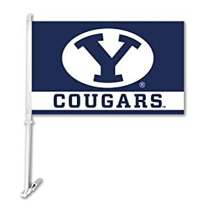 Buy NCAA Brigham Young Cougars Car Flag With Wall Bracket by BSI