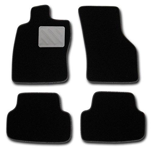 Passform Fussmatten HIGHLIGHT schwarz mit SILBERNEM Absatzschoner - passend für Mercedes E-Klasse W211 / S211 Limousine / T-Modell Kombi Bj. 03/02 - 02/09 mit Mattenhalter vorne