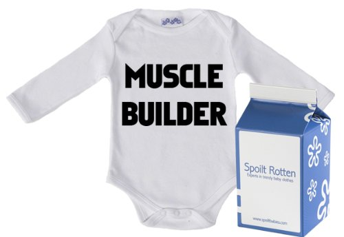Spoilt Rotten - Muscle Builder Long Sleeve Babygro / Bodysuit Funny Slogan 100% Organic Sizes 6-12 months WHITE/BLACK + in funky Milk Carton