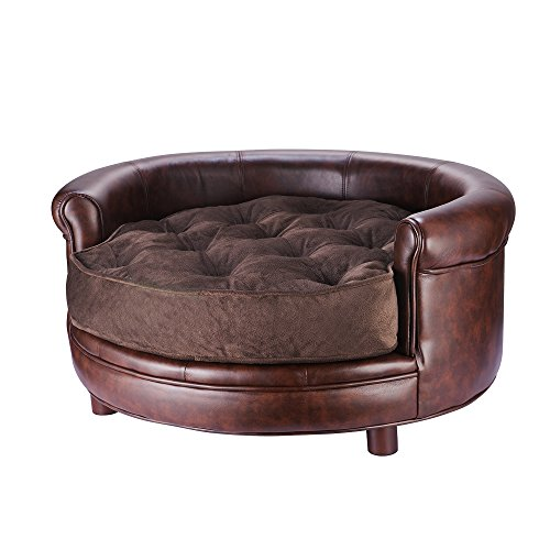 Chesterfield Faux Leather Large Dog Bed Designer Pet Sofa By Villacera Brown