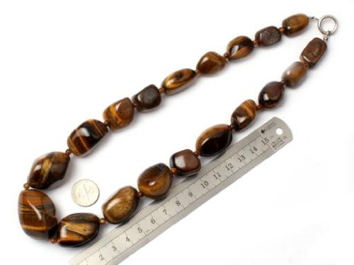 Sweet & Happy Girl'S Store 16--30mm Graduated Tiger Eye Stone Beads Strand Necklace 18