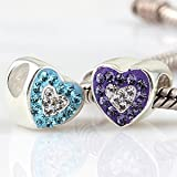 Love Hearts with Purple, Blue and Clear CZ Austrian Crystal Authentic 925 Sterling Silver Bead Fits Pandora Chamilia Biagi Troll Charms Europen Style Bracelets