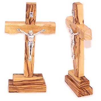 "Olive Wood Standing Cross With Crucifix.(5""H)"