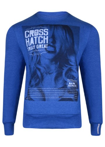 Mens 'CrossHatch' Crew Neck Sweatshirt With Large Print. Style Name - Snarls. In Blue Marl Size - Large