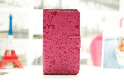 Magic Girl Cute lovely Little Witch Flip Pouch Cover PU Leather Magnetic Stand Cover Case Skin for Samsung Galaxy S Blaze 4G Sgh-t769 T-Mobile rosedark pink