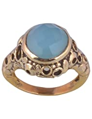 Metal Ring With Natural Calcidony Stone