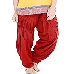 DNK Women's Cotton Patiala Salwar (DNK_0007_Red_Free size)
