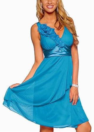 Trendy Tummy Maternity Stylish Mia Satin Empire Waist Cocktail Maternity Dress-Malibu Blue-Small