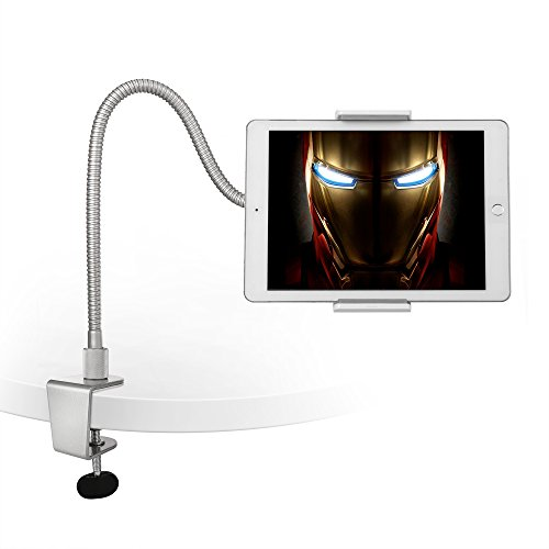 """AboveTEK Heavy Duty Aluminum Gooseneck Tablet Arm iPad iPhone Desk Mount Holder, with 3 Clamps Fit 3.5""""~10"""" iPad Mini Air iPhone 5 6 6S plus, Solid Base Easy Bend Strong & Flexible Arm, Best Tablet Mobile Phone Desktop Stand for Office Kitchen Bed"""