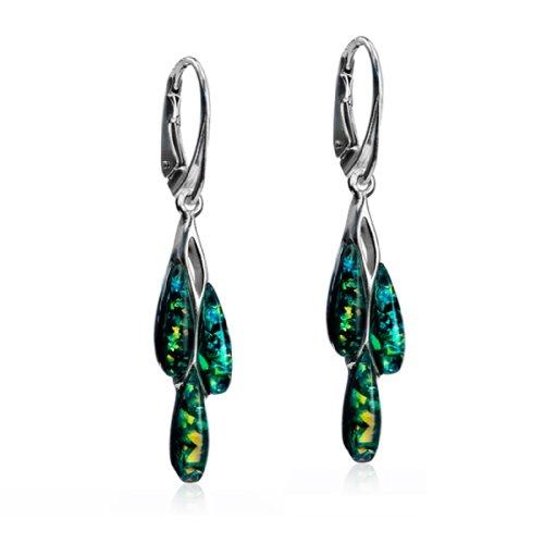 Sterling Silver Imitation Opal Dreams Leverback Earrings