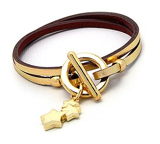 Quality Genuine Gold Leather Double Wrap Bracelet