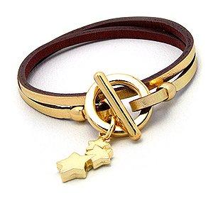 Quality Genuine Gold Leather Double Wrap Bracelet
