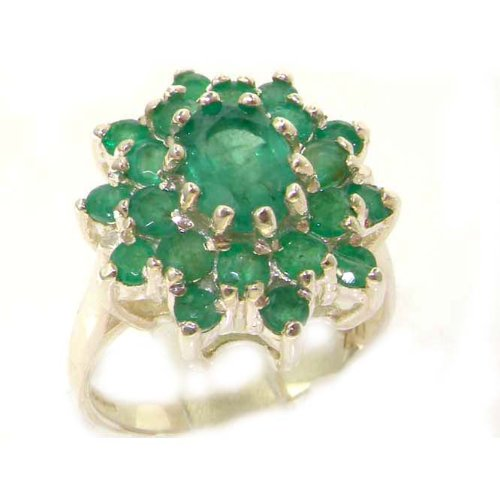 Fabulous Solid Sterling Silver Natural Emerald 3 Tier Large Cluster Ring - Size 12 - Finger Sizes 5 to 12 Available - Suitable as an Anniversary ring, Engagement ring, Eternity ring, or Promise ring