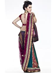 Chhabra555 Purple Net One Minute Saree - B00J4RPBNQ