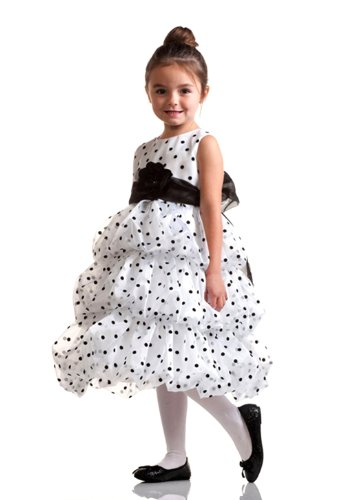 Dottie Polka Dot Tiered Bubble Holiday Dress With Flower Sash For Girls Fancy Dress Color: White Dress Size: Size 9-10 front-691193