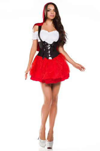 Amour- Deluxe Little Red Riding Hood Costume Dress /W Cape & Wrist Cuffs