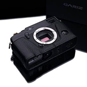 Gariz Genuine Leather BL-XP1 Camera Metal Half Case for Fuji Fujifilm X-Pro1 XPro1, Black Label Edition