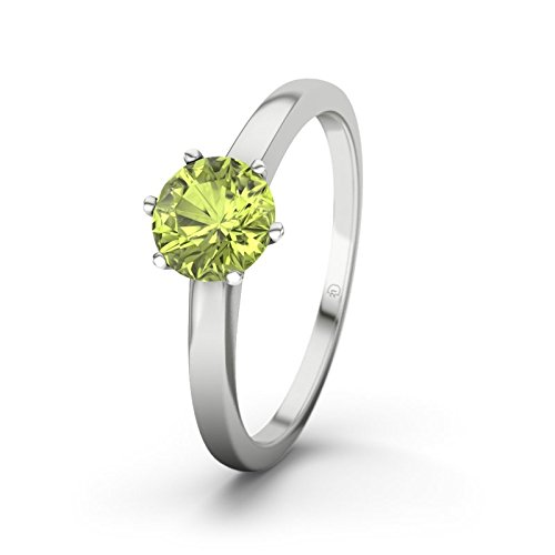 21DIAMONDS Johannesburg Women's Ring Peridot Round Brilliant Cut Engagement Ring, 9ct White Gold Engagement Ring