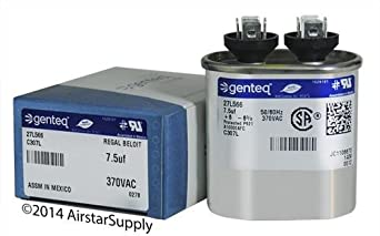 FAST SHIPPING! GE Genteq Capacitor Oval 5 uf MFD 370 volt 27L570s (Replaces Old GE #s 27L570, 97F5705BZ3, Z97F5705, 97F95702, Z97F5702, 97F9400, & 27L650), 5 MFD at 370 Volts, FAST SHIPPING!!