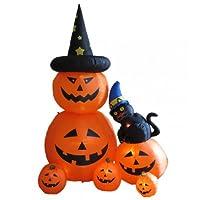 2 Items Bundle: 8 Foot Animated Halloween Inflatable Pumpkins & Black Cat, Top Pumpkin Rotating Yard Garden Decoration + Free Chrismtas Tree Ornament