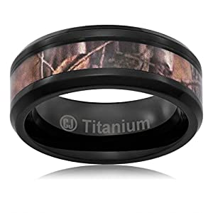 Cavalier Jewelers 8MM Men's Titanium Hunting Ring Wedding Band Black Plated and Camouflage Inlay [Size 10.5] by Cavalier Jewelers