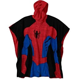Marvel Spiderman Hooded Poncho Pajama One Size Fits Boy 5 To 10