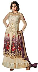 Justkartit Women's Multi Colour Georgette Embroidered Gown Style Wedding Wear Dress material