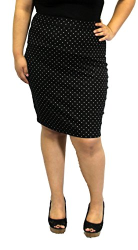 Black Rockabilly greaser 50s Vintage Skirt Pin Up Plus Size Fitted Work Solid (1X, POLKA DOT) (Greaser Attire)