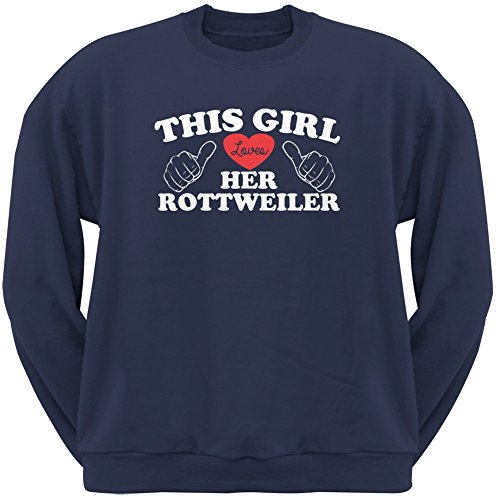 This Girl Loves Her Rottweiler Navy Adult Crew Neck Sweatshirt - Small