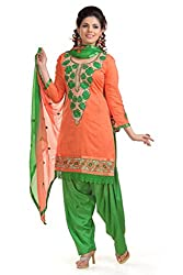 Ethnic For You Women's Cotton Salwar Suit Dress Material(ETH5951_Orange)