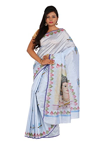 Alankrita Dupion Raw Silk Brush Painted Kanchipuram Art Silk Sarees With Stones(Light Bluish Grey)