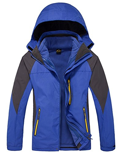 LANBAOSI Men's 3 in 1 Skiing Jacket Water Resistant Breathable Windbreaker Coats Royal blue Size US XL