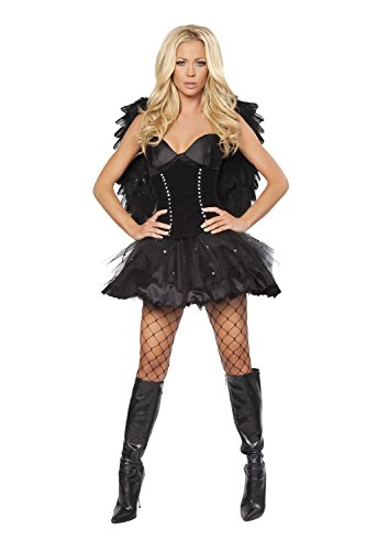 Women Winter Dress Sexy Dark Angel Costume Halloween Party for Adults