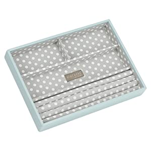 STACKERS 'CLASSIC SIZE' Duck Egg Blue Ring/Bracelet Section STACKER Jewellery Box with Grey PolkaDot Lining.