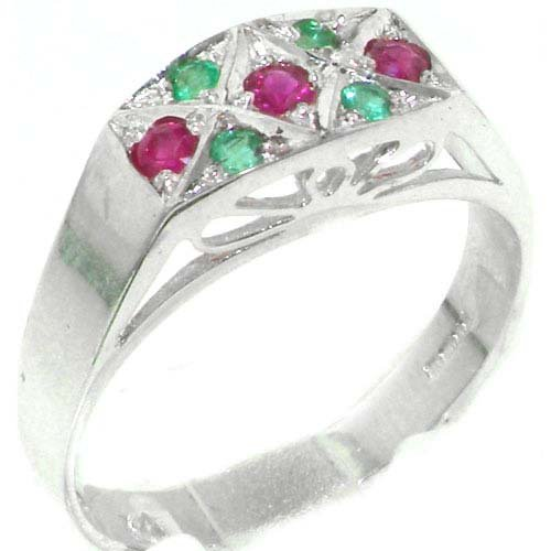 Luxurious Solid Sterling Silver Natural Ruby & Emerald Womens Ring - Size 11.75 - Finger Sizes 4 to 12 Available - Suitable as an Anniversary ring, Engagement ring, Eternity ring, or Promise ring