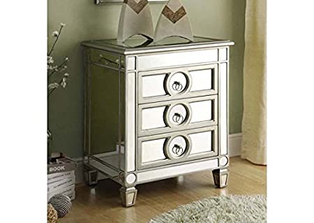 BRUSHED SILVER / MIRRORED 3 DRAWER ACCENT TABLE (SIZE: 22L X 16W X 27H)