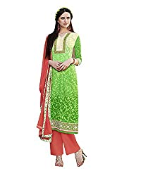 Shenoa Women's Cotton Silk Unstitched Salwar Suit Dress Material (Green, Free Size)