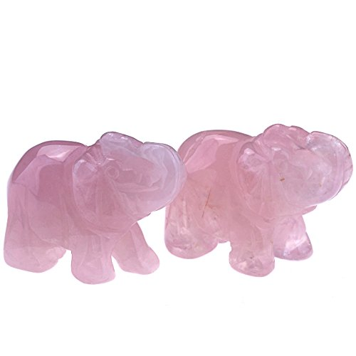 JOVIVI 2pc Natural Carved Gemstones Elephant Figurine 1.5'' Room Decoration & Gift Box