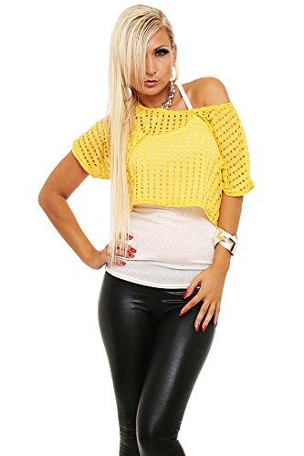 5499 Fashion4Young Damen Sexy Oberteil-Kombination Shirt + Top 2 in 1 verfügbar in 5 Farben