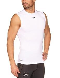 Under Armour HG Sonic T-Shirt de compression sans manches Homme White/Black FR : L (Taille Fabricant : LG)