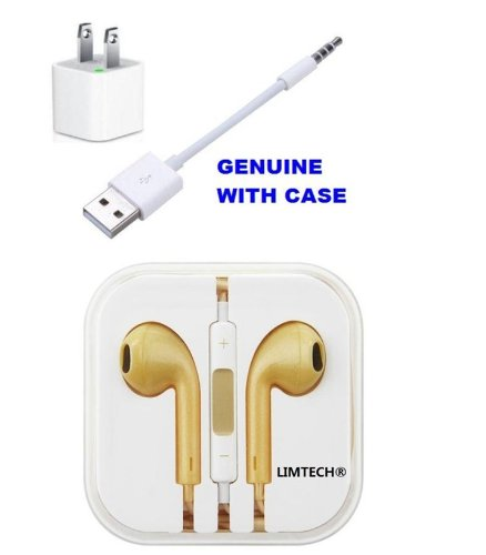 Limtech® Earphone + Wall Charger + Apple Ipod Shuffle Usb Charger Sync Cable 3Rd, 4Th And 5Th (New In Box)