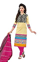 Taos Brand cotton dress materials for women womens dress materials cotton salwar suit New Arrival latest 2016 womens party wear Unstitched dress materials for women (1404 summer__cream and beige with multi colour_freesize