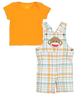 "Sock Monkey ""Shortall Sweetall"" 2-Piece Outfit"