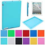 HDE iPad Silicone Rubber Case Jelly Bumper Skin Cover + Screen Protector + Stylus for Apple iPad 2 iPad 3 iPad 4 Tablets (Light Blue)