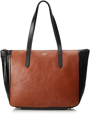 Amazon.com: Fossil Sydney Colorblock Shopper Tote, Black/Brown, One