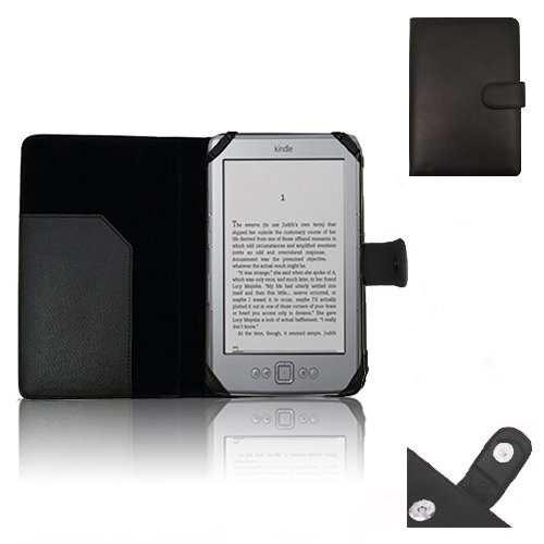 """Xtra-Funky Exclusive Pu Leather Book Wallet Folio Style Case For Amazon Kindle 4 (Black Or Silver 6"""" E-Ink Display No Keyboard Model) - Black"""