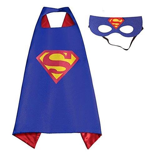 Superman Cape and Mask Set for Boys Girls Kids Comic Halloween Christmas Costume Xmas Birthday Gift
