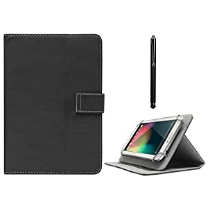 DMG Protective Flip Book Cover Stand View Case for Ambrane A3-7 inch Plus (Black) + Capacitive Touch Screen Stylus