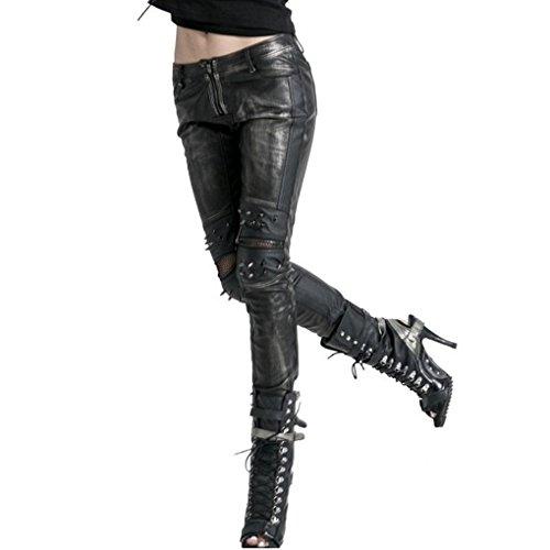 Donna pantaloni in pelle di tubi Punk Rave Nero-argento Biker Gothic Unisex nero XXL